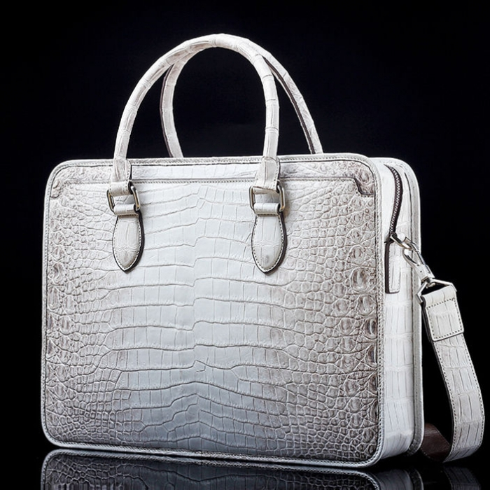 Alligator Crossbody Laptop Business Bag, Alligator Briefcase for Men-White