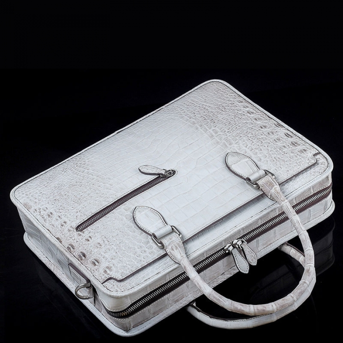Alligator Crossbody Laptop Business Bag, Alligator Briefcase for Men-White-Top
