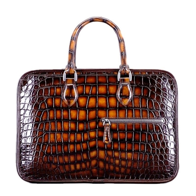 Alligator Crossbody Laptop Business Bag-Brown