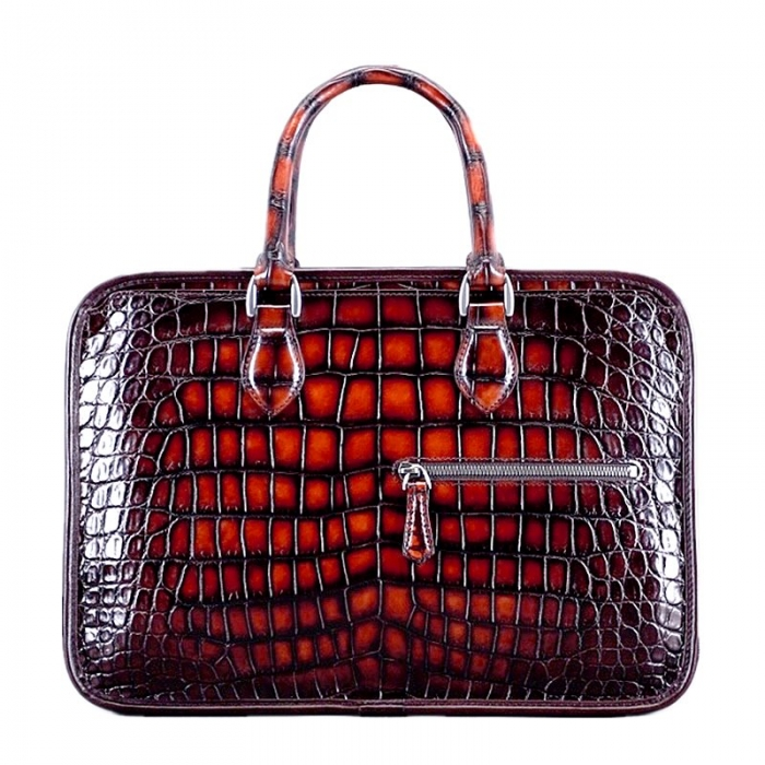 Alligator Crossbody Laptop Business Bag-Burgundy