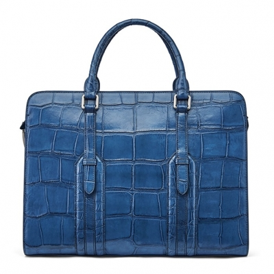 Alligator Leather Briefcase Shoulder Laptop Business Bag-Blue
