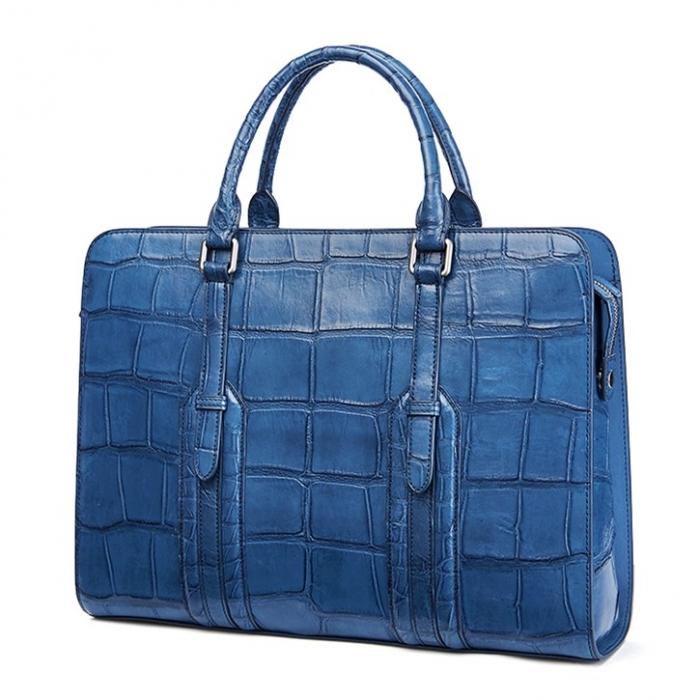 Alligator Leather Briefcase Shoulder Laptop Business Bag-Blue-Side