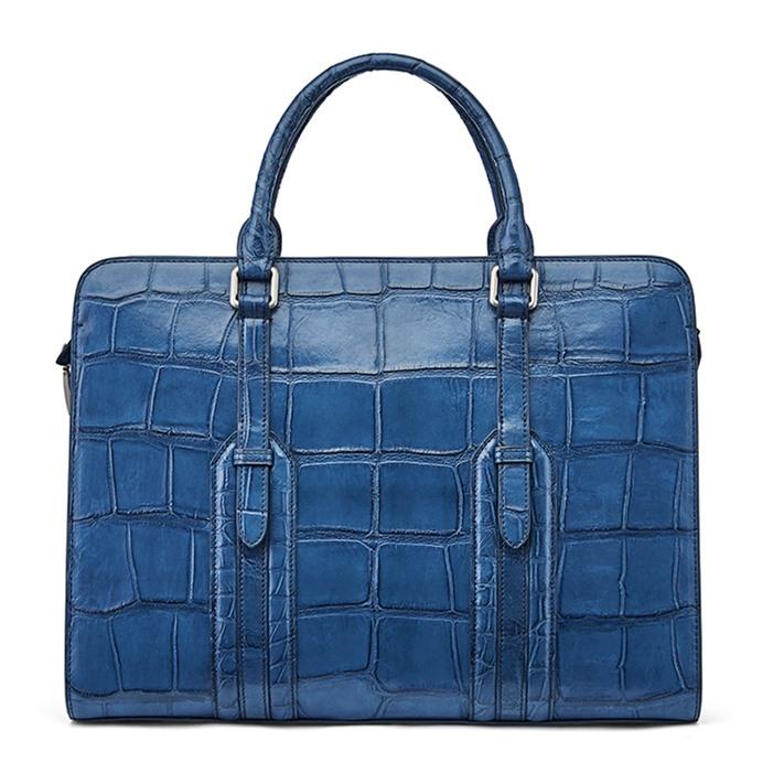 Alligator Leather Briefcase Shoulder Laptop Business Bag-Blue