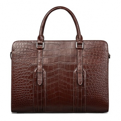 Alligator Leather Briefcase Shoulder Laptop Business Bag-Brown