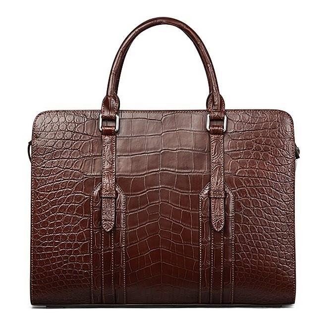 Alligator Leather Briefcase Shoulder Laptop Business Bag-Brown