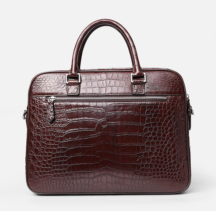 Alligator Leather Briefcase Shoulder Laptop Business Messenger Bag-Back
