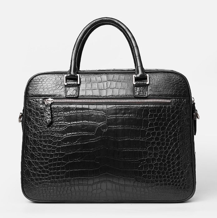 Alligator Leather Briefcase Shoulder Laptop Business Messenger Bag-Black-Back