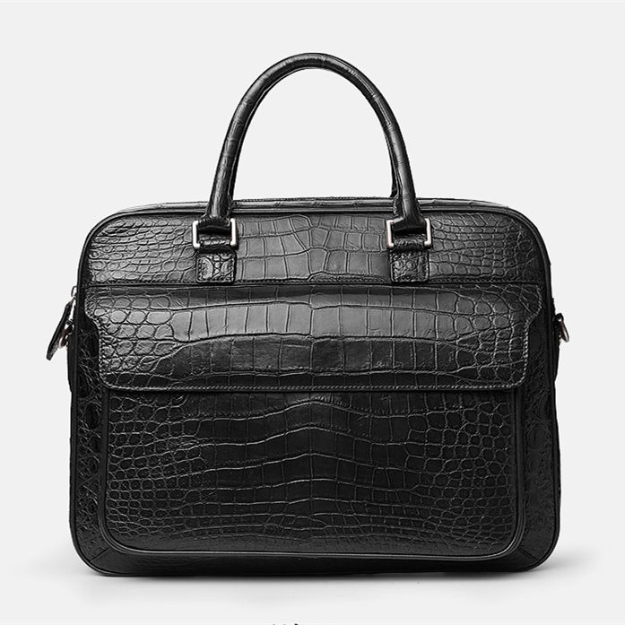 Alligator Leather Briefcase Shoulder Laptop Business Messenger Bag-Black