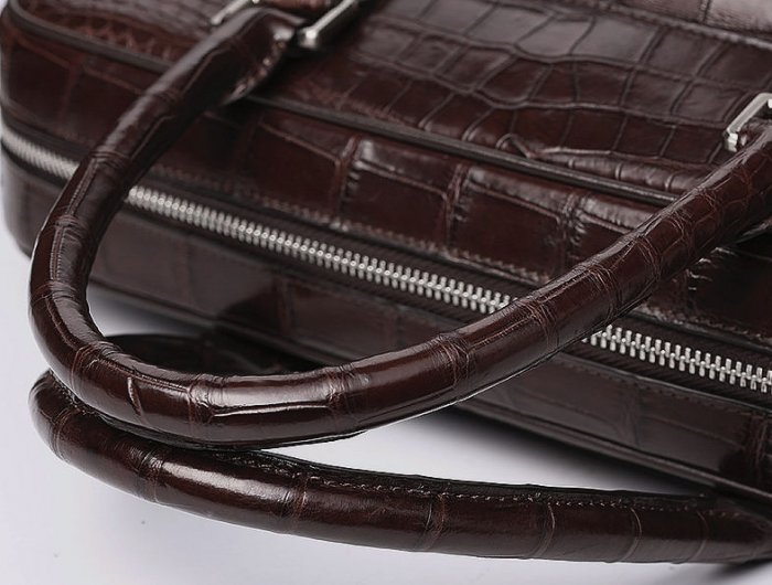 Alligator Leather Briefcase Shoulder Laptop Business Messenger Bag-Top-Handle