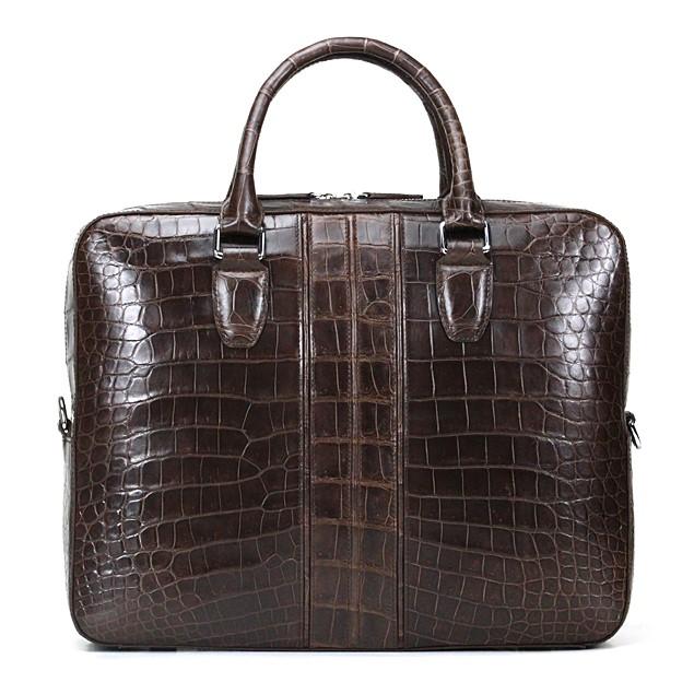 Alligator Leather Business Travel Briefcase-Back