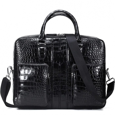 Alligator Leather Business Travel Briefcase-Black