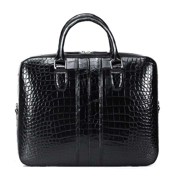 Alligator Leather Business Travel Briefcase-Black-Back