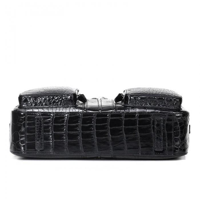 Alligator Leather Business Travel Briefcase-Black-Bottom