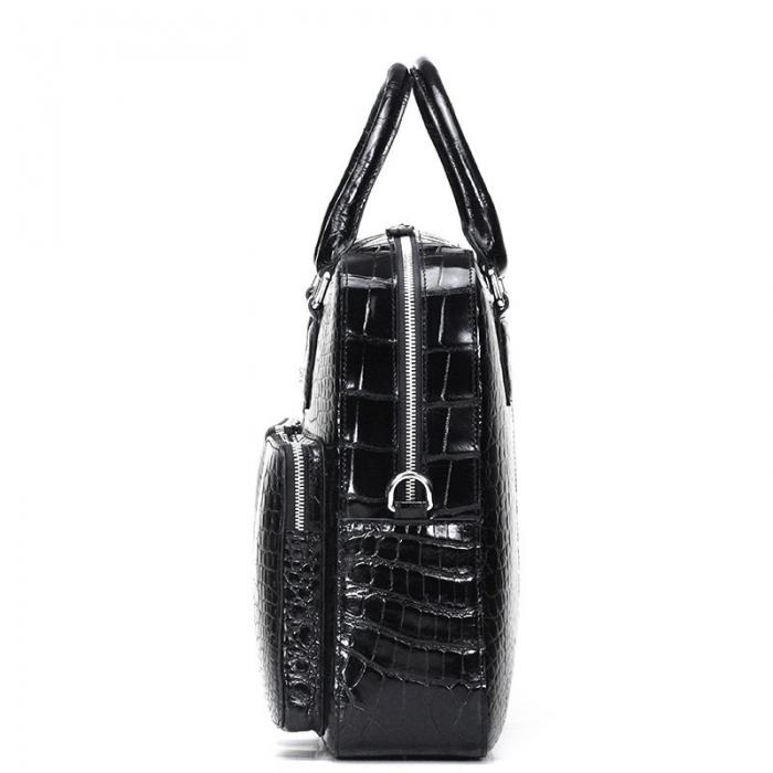Alligator Leather Business Travel Briefcase-Black-Side