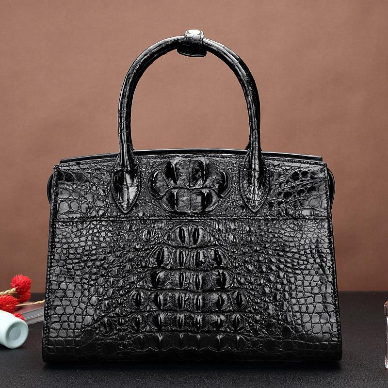 Black Crocodile Leather Bag