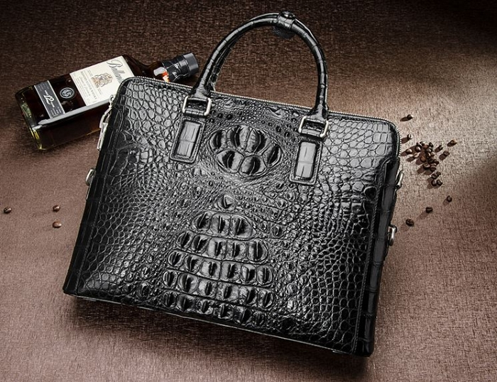 Black-Crocodile Leather Laptop Briefcase with Combination Lock