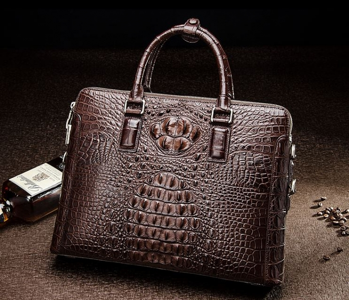 Brown Crocodile Leather Laptop Briefcase with Combination Lock
