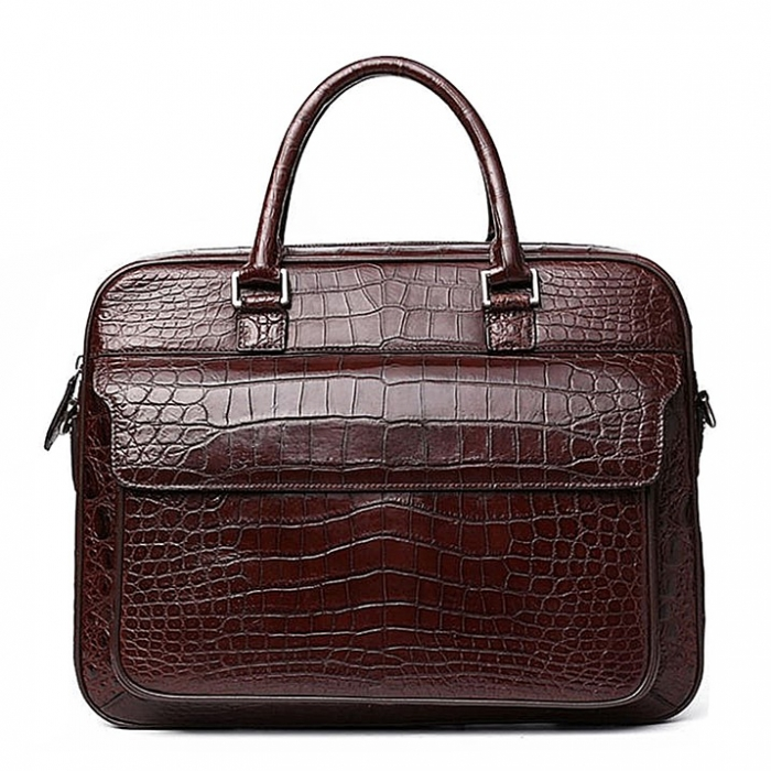 Classic Alligator Leather Briefcase Messenger Bag