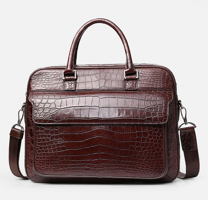 Classic Alligator Leather Briefcase Shoulder Laptop Business Messenger Bag for Men