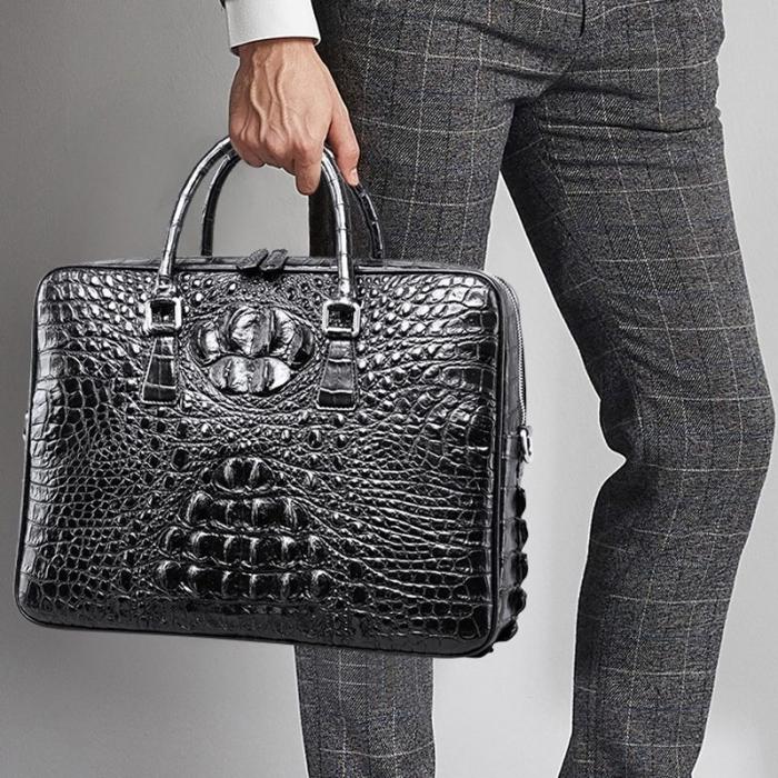 Crocodile Leather Briefcase Laptop Bag for Men