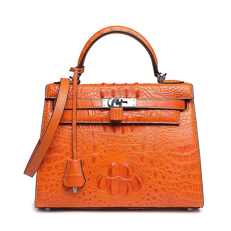 Crocodile Leather Handbags-Orange
