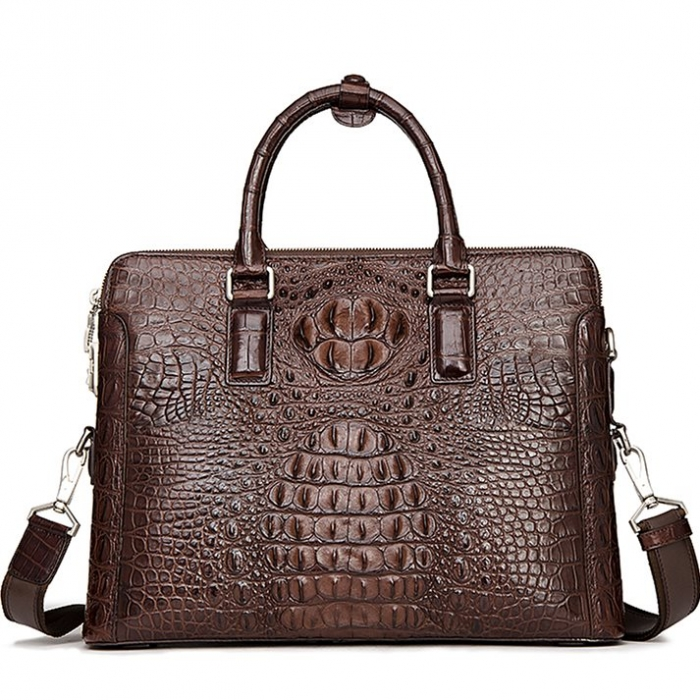 Crocodile Leather Laptop Briefcase with Combination Lock