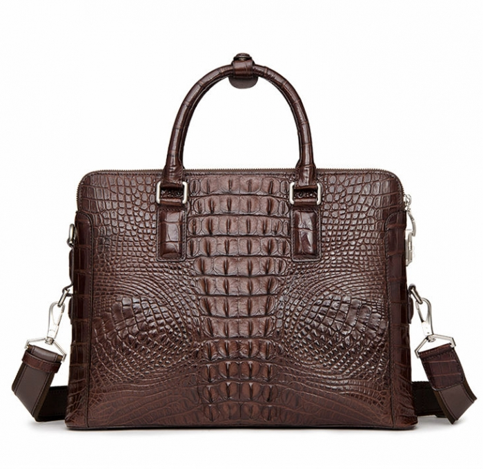 Crocodile Leather Laptop Briefcase with Combination Lock-Back