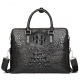 Crocodile Leather Laptop Briefcase with Combination Lock-Black