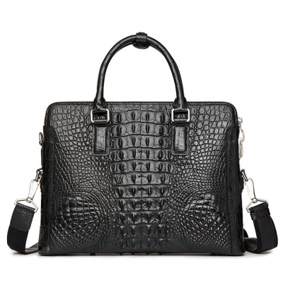 Crocodile Leather Laptop Briefcase with Combination Lock-Black-Back