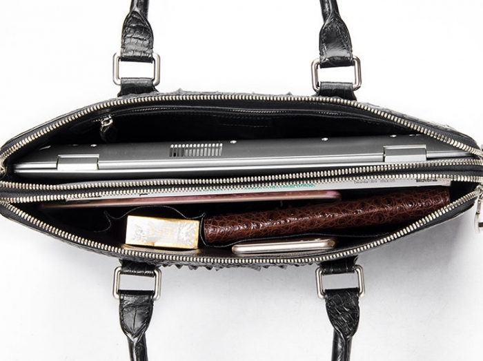 Crocodile Leather Laptop Briefcase with Combination Lock-Inside