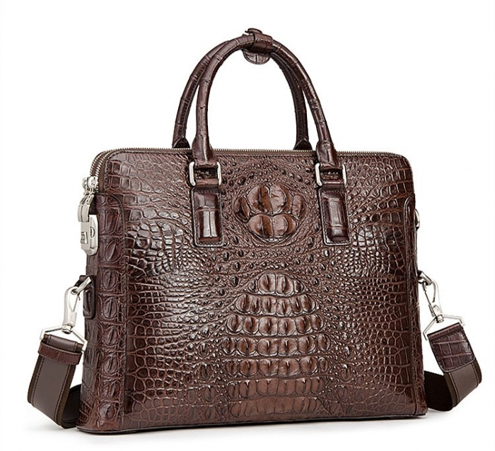 Crocodile Leather Laptop Briefcase with Combination Lock-Micro SideCrocodile Leather Laptop Briefcase with Combination Lock-Micro Side