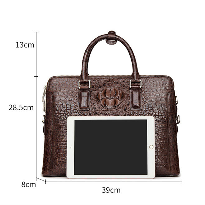 Crocodile Leather Laptop Briefcase with Combination Lock-Size