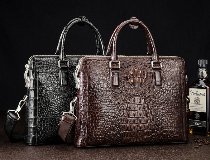 Crocodile Leather Laptop Briefcase with Combination Lock for Men