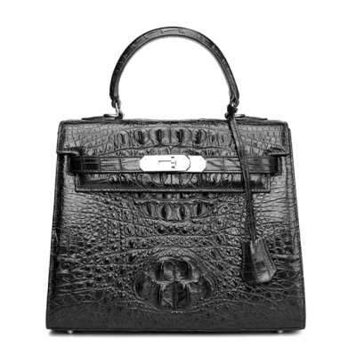 Crocodile Leather Padlock Handbags Shoulder Bags-Black