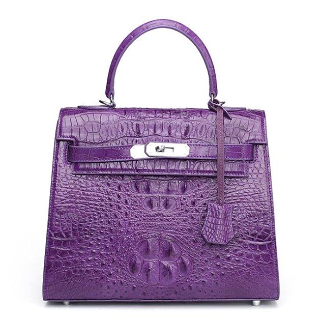 Crocodile Leather Padlock Handbags Shoulder Bags-Purple