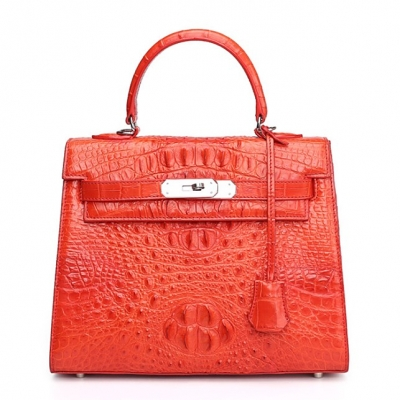 Crocodile Leather Padlock Handbags Shoulder Bags-Red