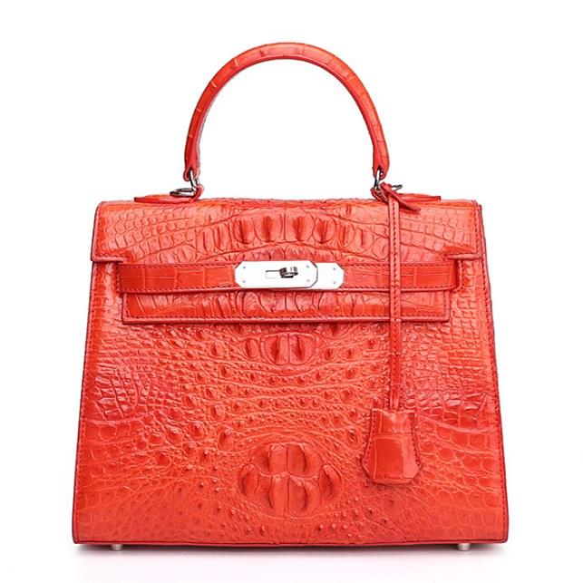 Crocodile Leather Padlock Handbags Shoulder Bags-Red