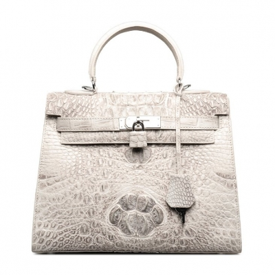 Crocodile Leather Padlock Handbags Shoulder Bags-White