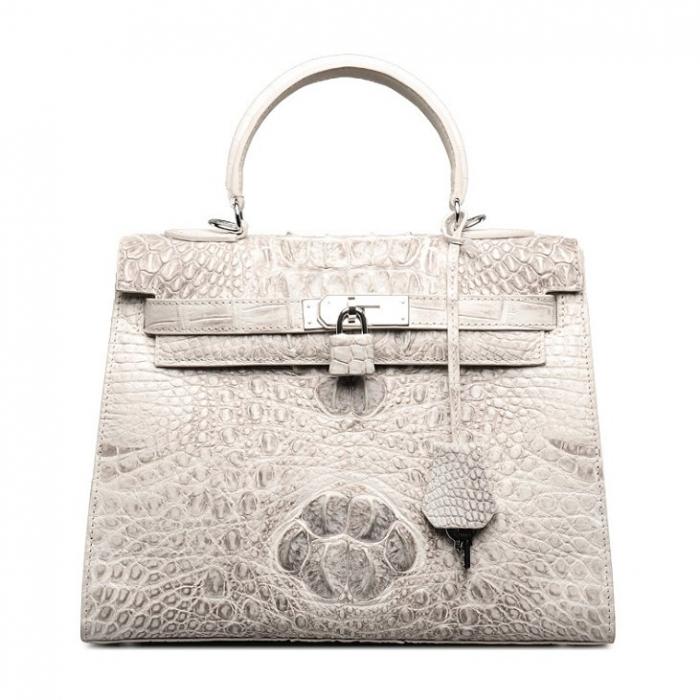 Crocodile Leather Padlock Handbags Shoulder Bags-White