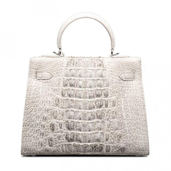 Crocodile Leather Padlock Handbags Shoulder Bags-White-Back