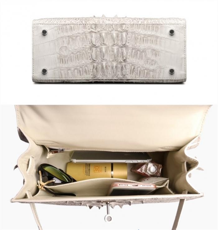 Crocodile Leather Padlock Handbags Shoulder Bags-White-Details-1