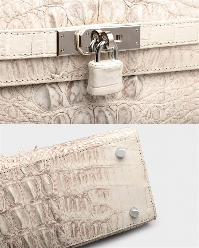 Crocodile Leather Padlock Handbags Shoulder Bags-White-Details
