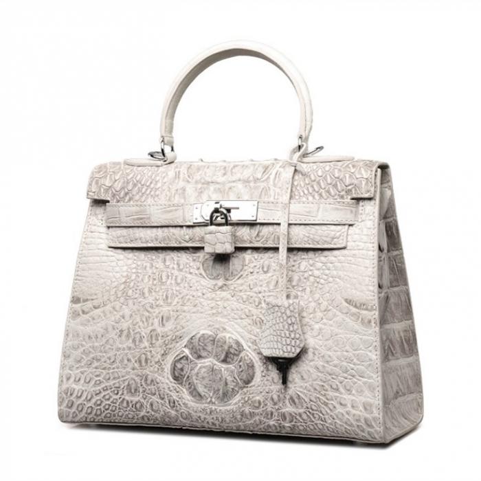 Crocodile Leather Padlock Handbags Shoulder Bags-White-Micro Side