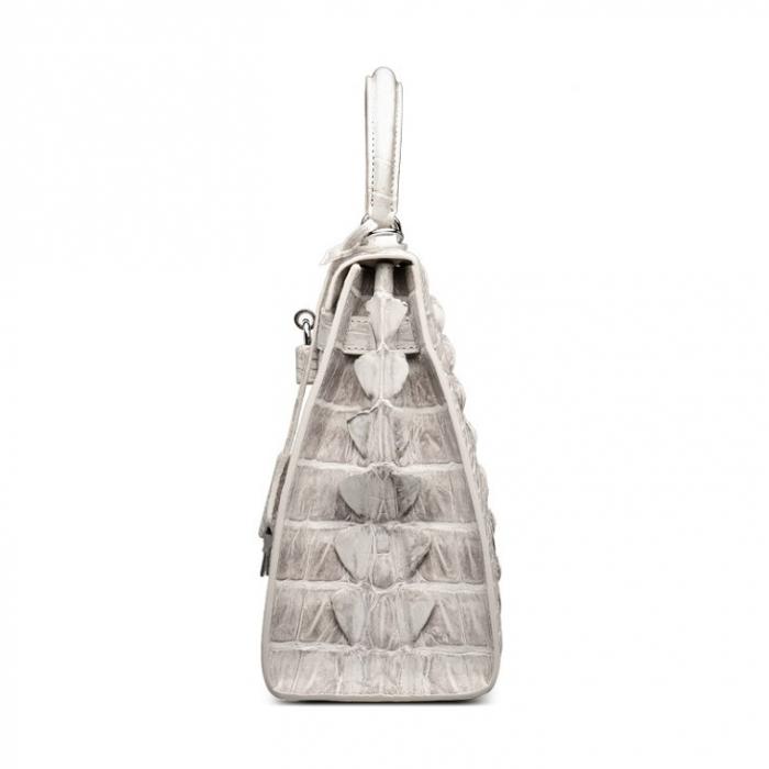 Crocodile Leather Padlock Handbags Shoulder Bags-White-Side