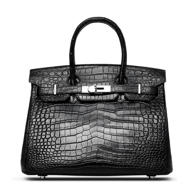 Designer Alligator Handbag-Black
