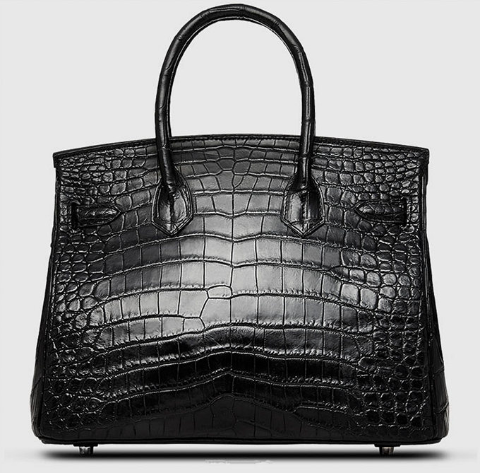 Designer Alligator Handbag-Black-Back