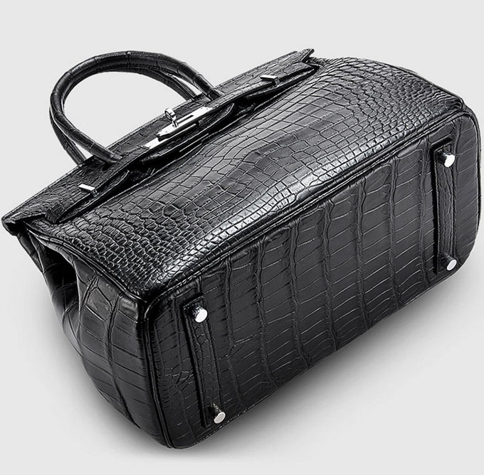 Designer Alligator Handbag-Black-Bottom