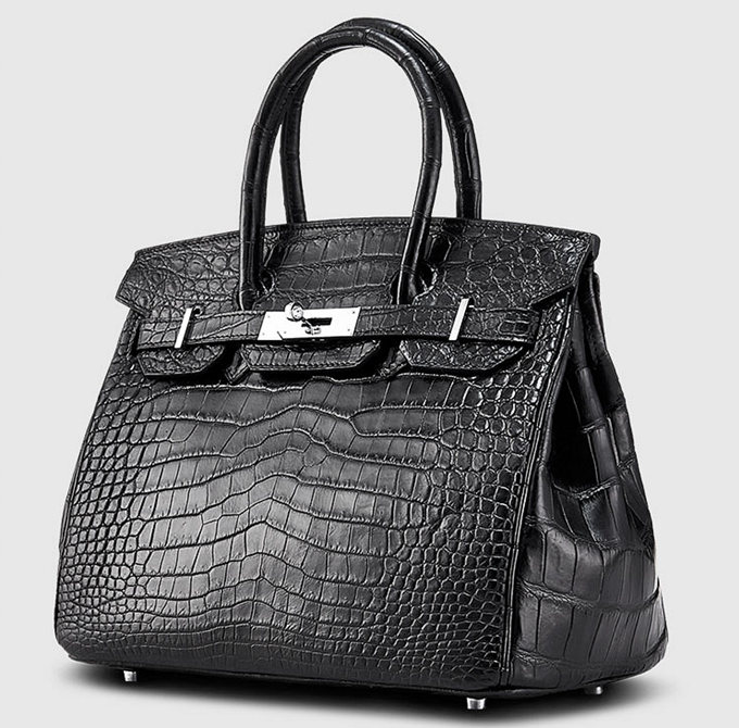 Designer Alligator Handbag-Black-Side