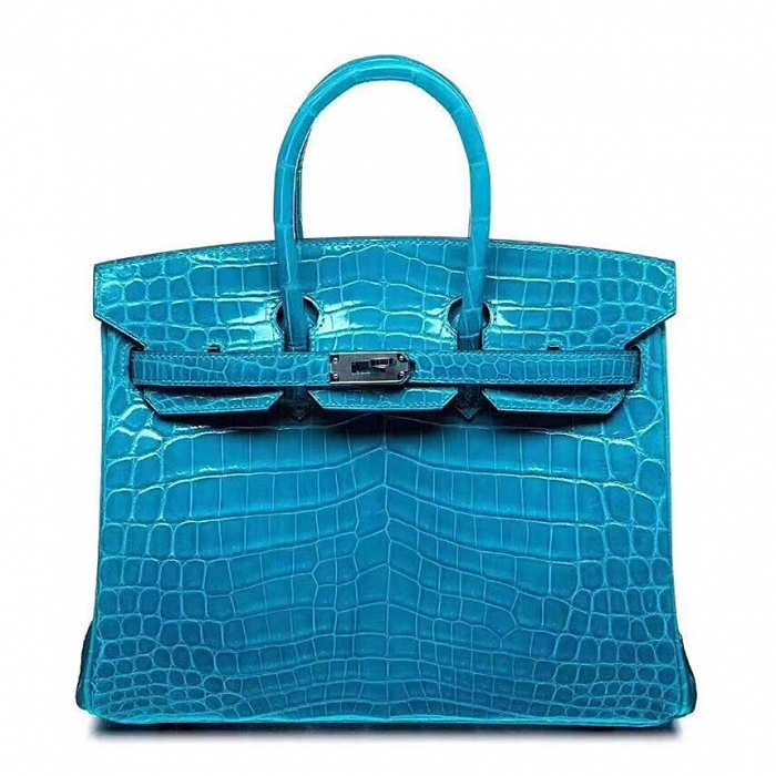 Designer Alligator Handbag-Blue