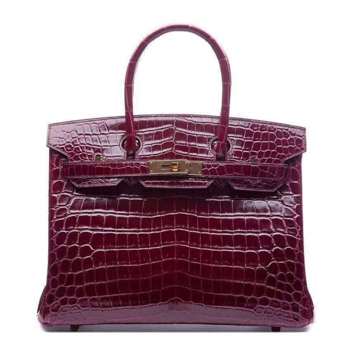 Designer Alligator Handbag-Burgundy